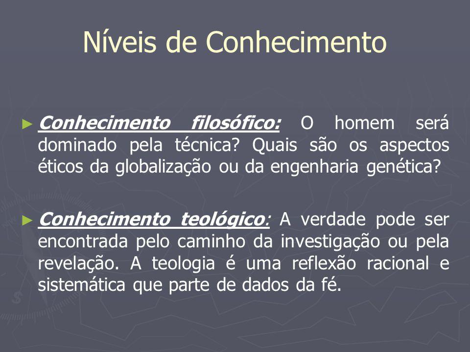 Níveis de Conhecimento Conhecimento filosófico: O homem será dominado pela técnica? Quais são os aspectos éticos da globalização ou da engenharia gené