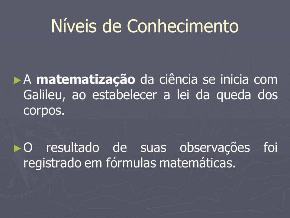 Níveis de Conhecimento A matematização da ciência se inicia com Galileu, ao estabelecer a lei da queda dos corpos. O resultado de suas observações foi