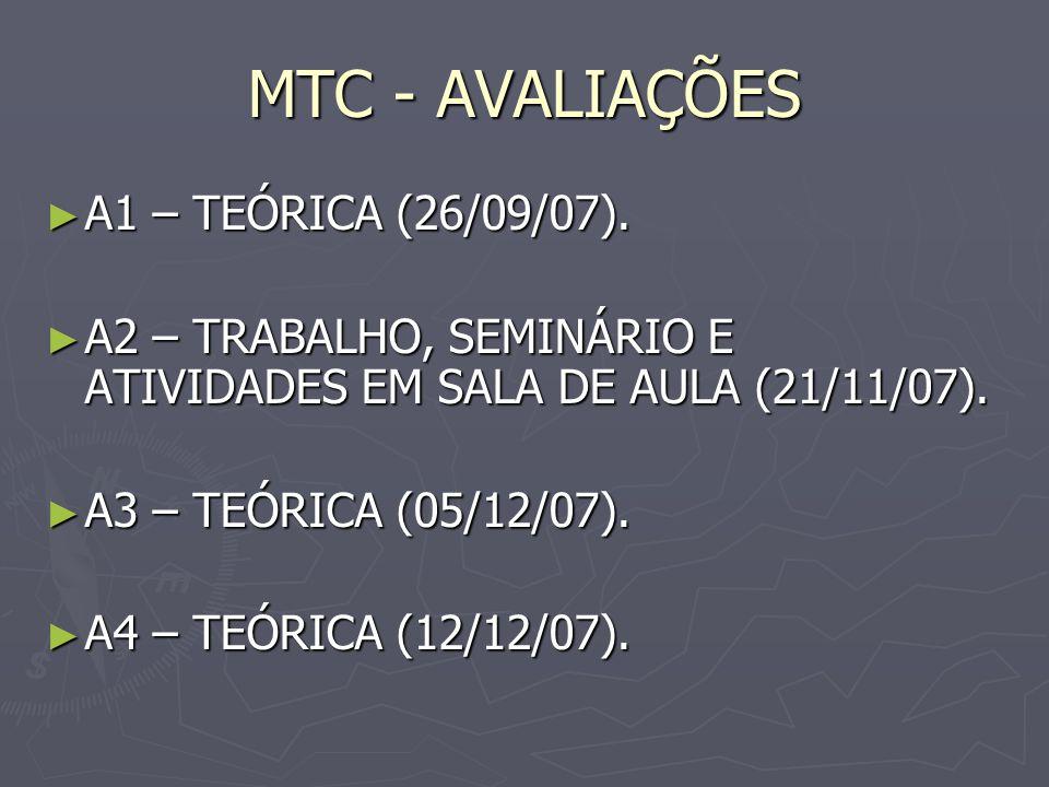 MTC - AVALIAÇÕES A1 – TEÓRICA (26/09/07). A1 – TEÓRICA (26/09/07). A2 – TRABALHO, SEMINÁRIO E ATIVIDADES EM SALA DE AULA (21/11/07). A2 – TRABALHO, SE