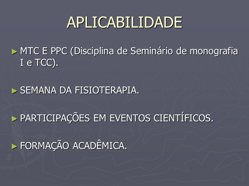 APLICABILIDADE MTC E PPC (Disciplina de Seminário de monografia I e TCC). MTC E PPC (Disciplina de Seminário de monografia I e TCC). SEMANA DA FISIOTE