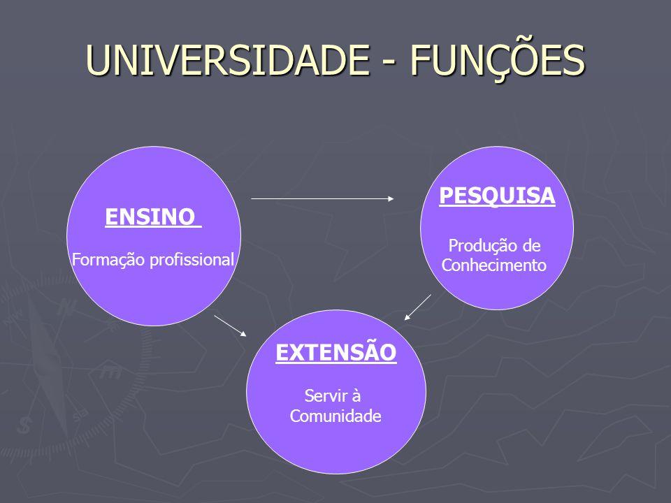 UNIVERSIDADE - FUNÇÕES ENSINO Formação profissional PESQUISA Produção de Conhecimento EXTENSÃO Servir à Comunidade