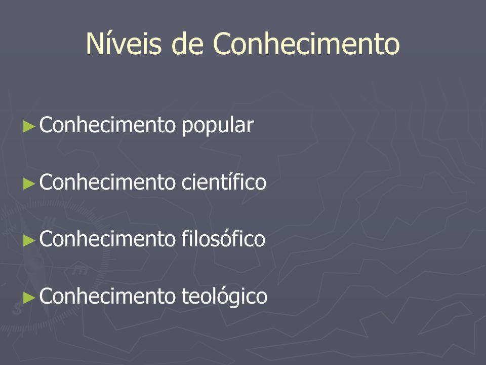 Níveis de Conhecimento Conhecimento popular Conhecimento científico Conhecimento filosófico Conhecimento teológico