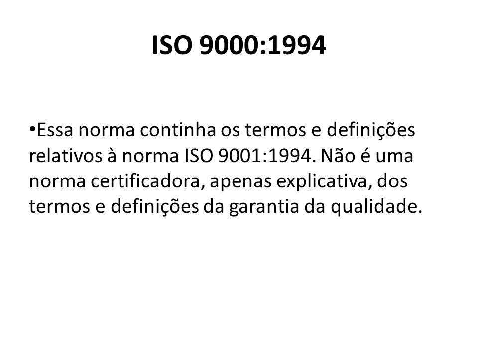 ISO 9000:1994 Essa norma continha os termos e definições relativos à norma ISO 9001:1994. Não é uma norma certificadora, apenas explicativa, dos termo