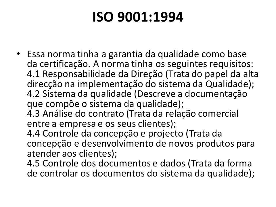 ISO 9001:1994 Essa norma tinha a garantia da qualidade como base da certificação. A norma tinha os seguintes requisitos: 4.1 Responsabilidade da Direç