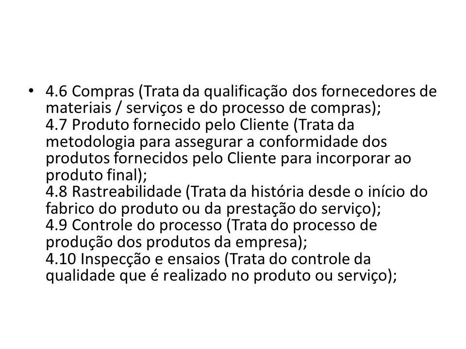 4.6 Compras (Trata da qualificação dos fornecedores de materiais / serviços e do processo de compras); 4.7 Produto fornecido pelo Cliente (Trata da me