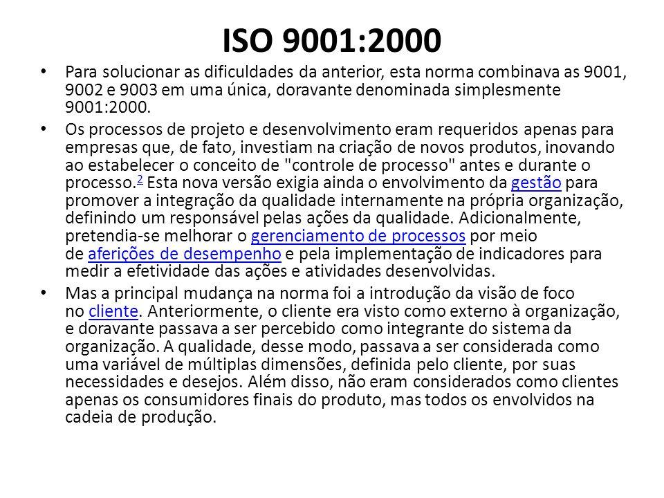 ISO 9001:2000 Para solucionar as dificuldades da anterior, esta norma combinava as 9001, 9002 e 9003 em uma única, doravante denominada simplesmente 9