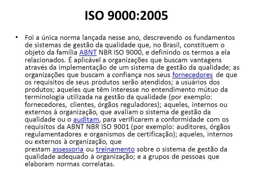 ISO 9000:2005 Foi a única norma lançada nesse ano, descrevendo os fundamentos de sistemas de gestão da qualidade que, no Brasil, constituem o objeto d