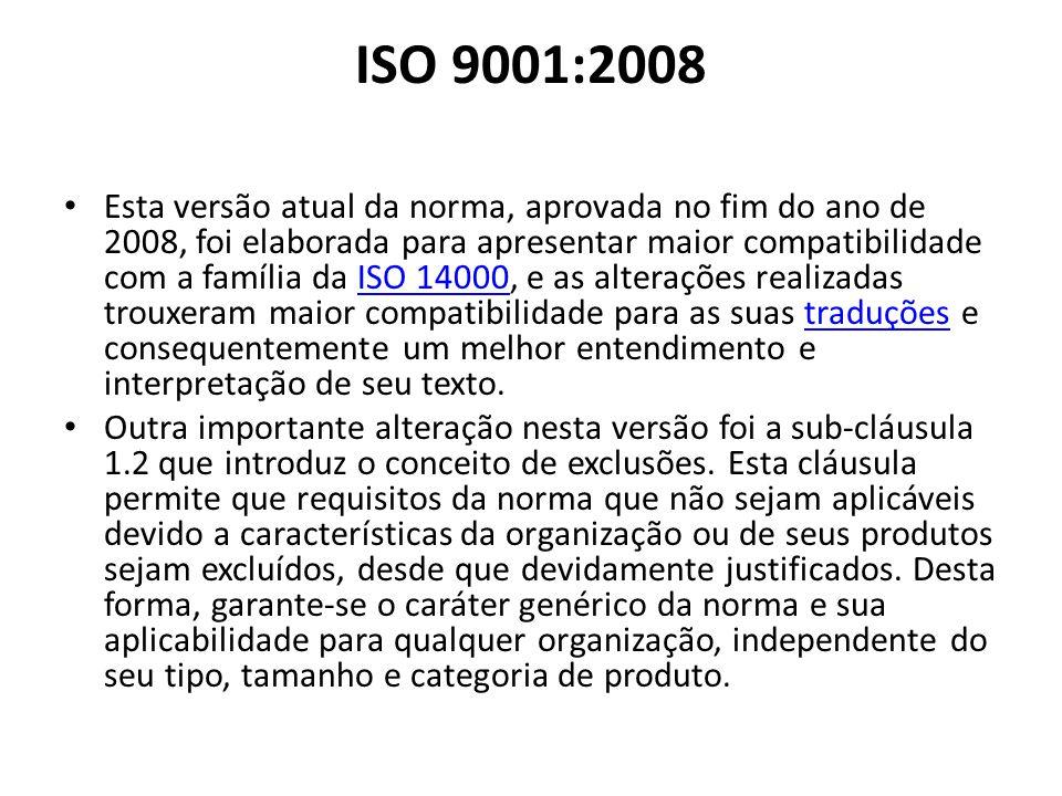 ISO 9001:2008 Esta versão atual da norma, aprovada no fim do ano de 2008, foi elaborada para apresentar maior compatibilidade com a família da ISO 140