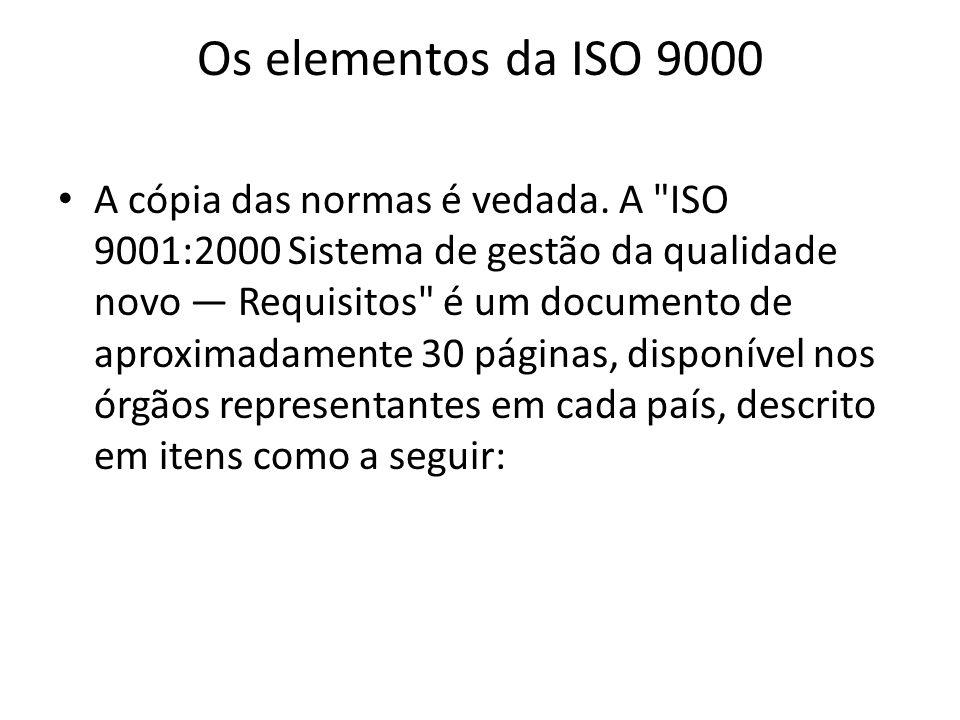 Os elementos da ISO 9000 A cópia das normas é vedada. A