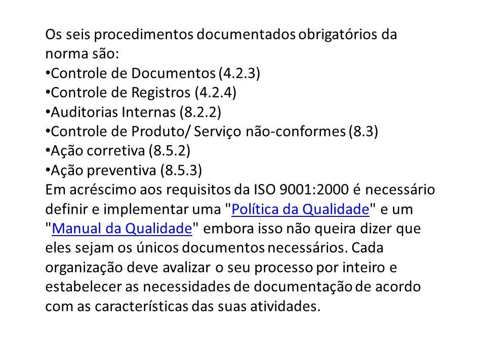 Os seis procedimentos documentados obrigatórios da norma são: Controle de Documentos (4.2.3) Controle de Registros (4.2.4) Auditorias Internas (8.2.2)