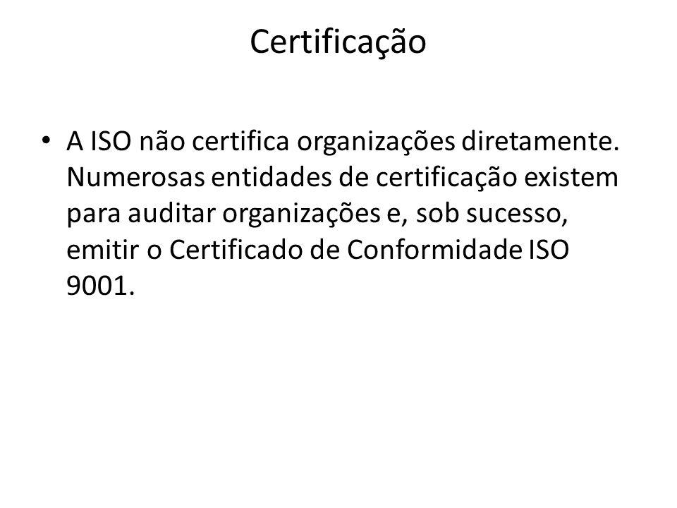 Certificação A ISO não certifica organizações diretamente. Numerosas entidades de certificação existem para auditar organizações e, sob sucesso, emiti