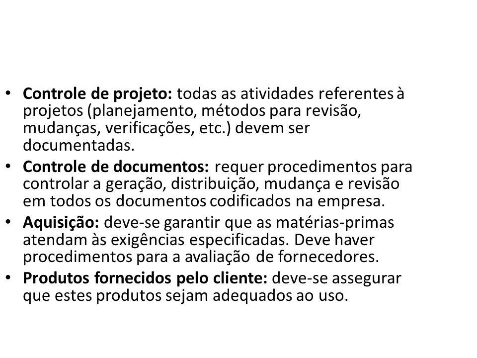Controle de projeto: todas as atividades referentes à projetos (planejamento, métodos para revisão, mudanças, verificações, etc.) devem ser documentad
