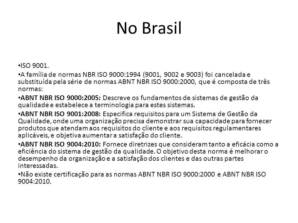 No Brasil ISO 9001. A família de normas NBR ISO 9000:1994 (9001, 9002 e 9003) foi cancelada e substituída pela série de normas ABNT NBR ISO 9000:2000,
