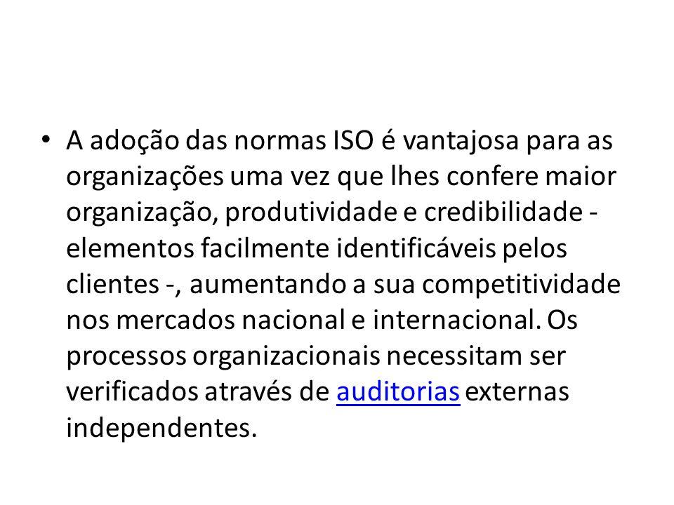 A adoção das normas ISO é vantajosa para as organizações uma vez que lhes confere maior organização, produtividade e credibilidade - elementos facilme