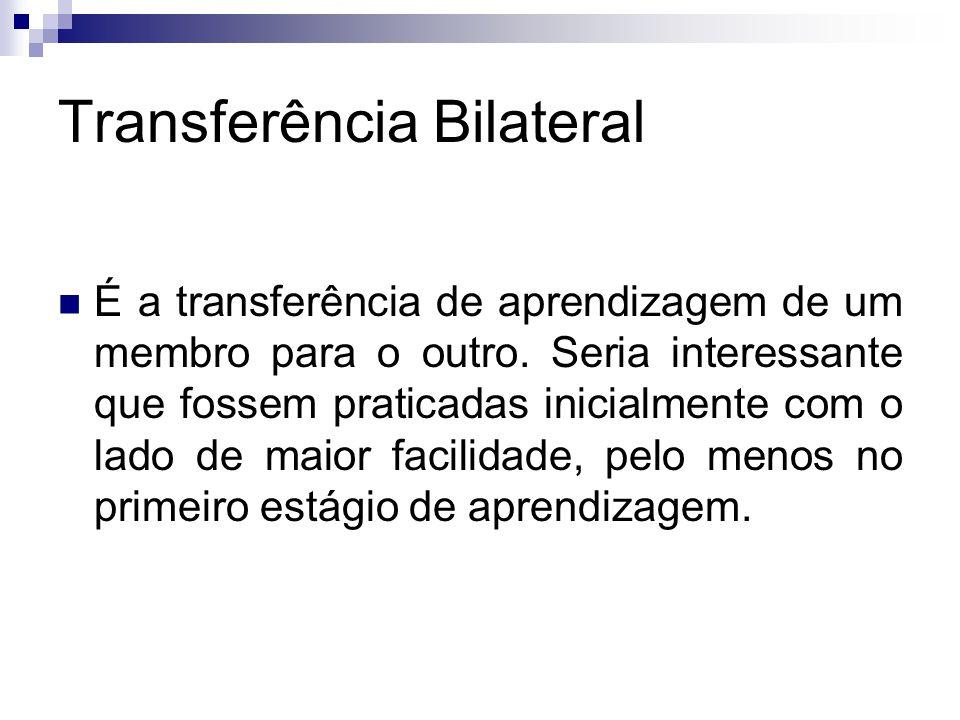 Transferência Bilateral É a transferência de aprendizagem de um membro para o outro.