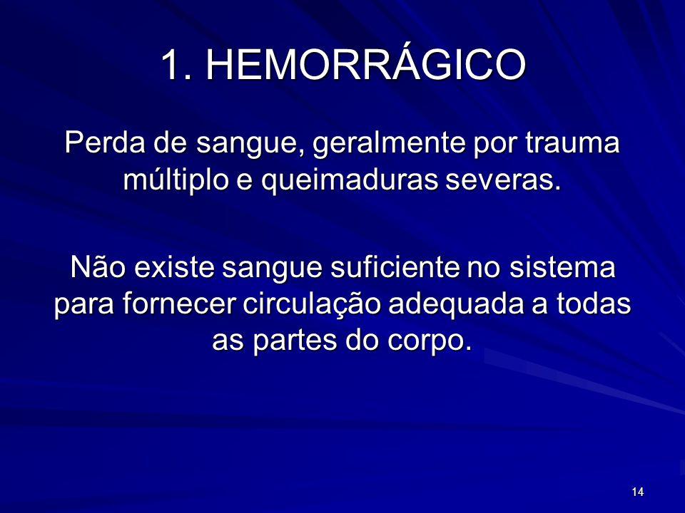 14 1. HEMORRÁGICO Perda de sangue, geralmente por trauma múltiplo e queimaduras severas. Não existe sangue suficiente no sistema para fornecer circula