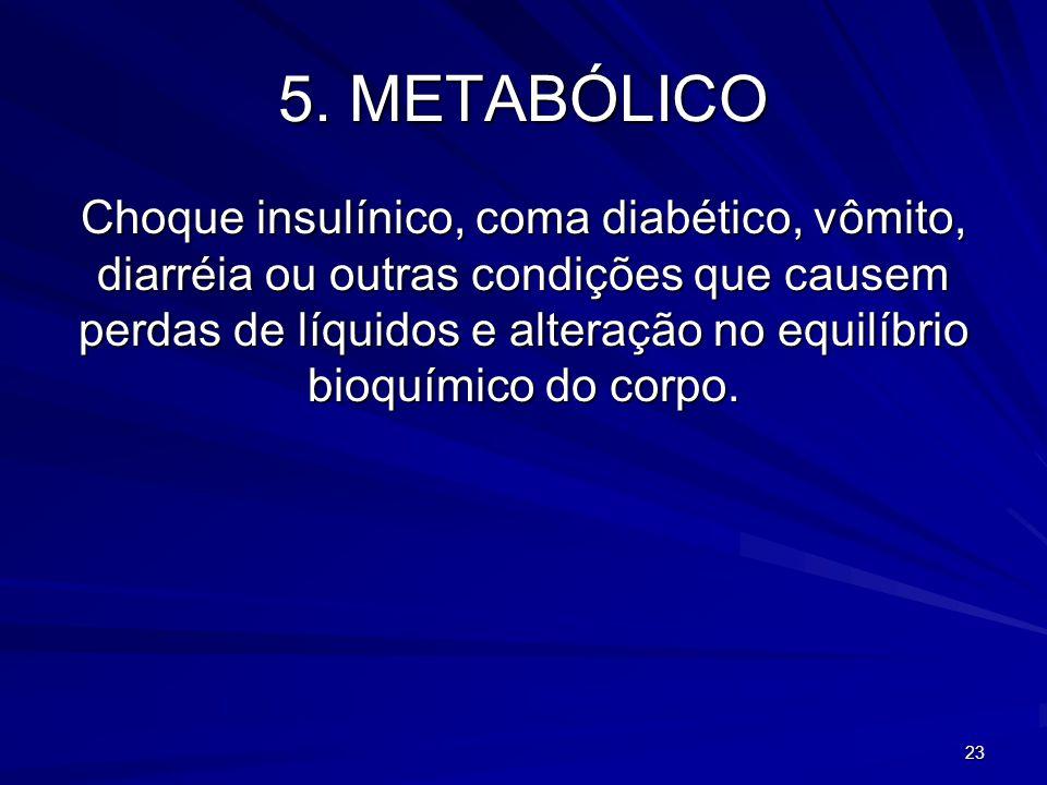 23 5. METABÓLICO Choque insulínico, coma diabético, vômito, diarréia ou outras condições que causem perdas de líquidos e alteração no equilíbrio bioqu