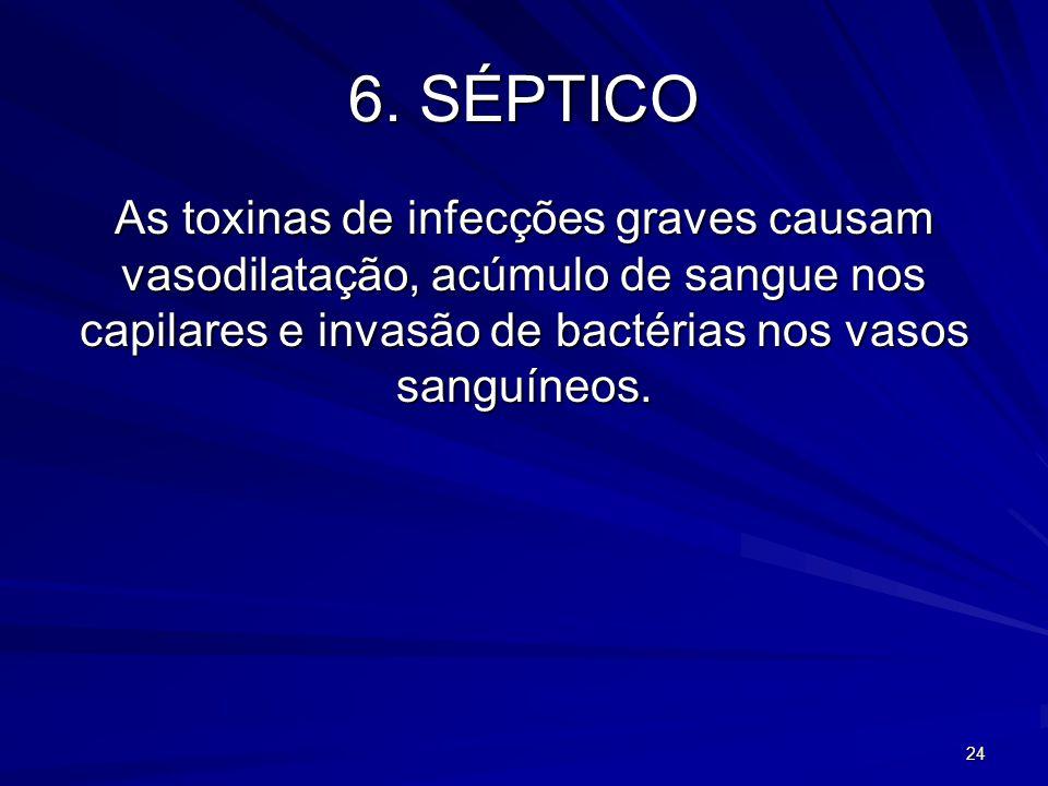 24 6. SÉPTICO As toxinas de infecções graves causam vasodilatação, acúmulo de sangue nos capilares e invasão de bactérias nos vasos sanguíneos.