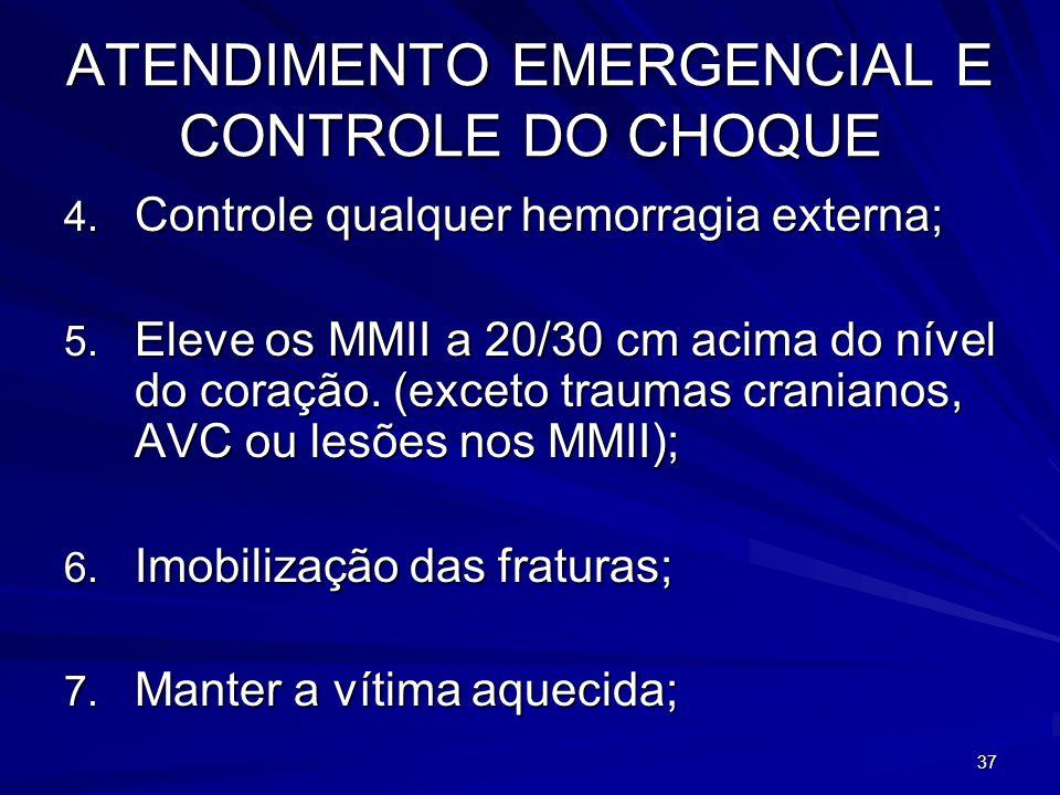 37 ATENDIMENTO EMERGENCIAL E CONTROLE DO CHOQUE 4. Controle qualquer hemorragia externa; 5. Eleve os MMII a 20/30 cm acima do nível do coração. (excet