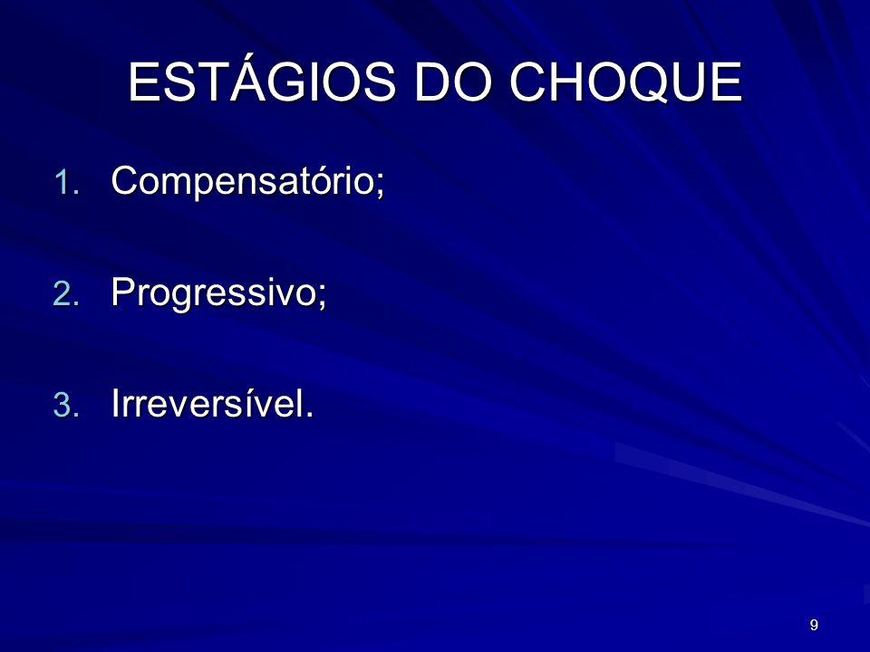 9 ESTÁGIOS DO CHOQUE 1. Compensatório; 2. Progressivo; 3. Irreversível.