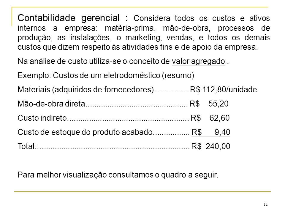 11 Contabilidade gerencial : Considera todos os custos e ativos internos a empresa: matéria-prima, mão-de-obra, processos de produção, as instalações,