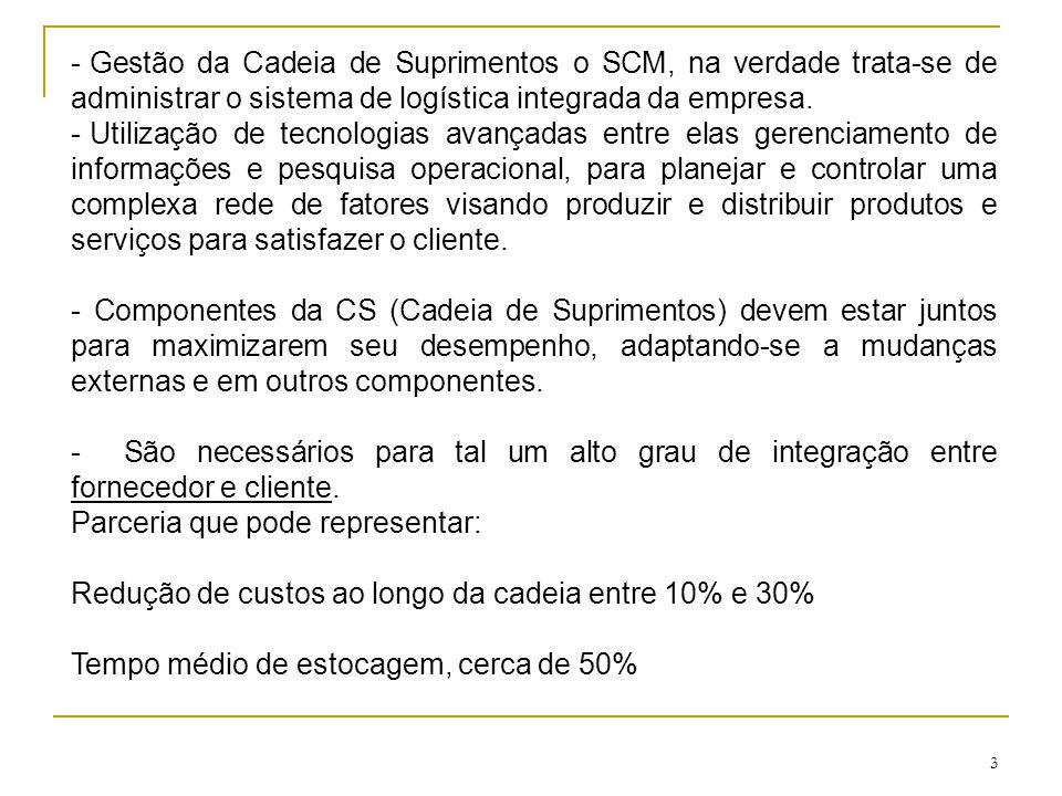 3 - Gestão da Cadeia de Suprimentos o SCM, na verdade trata-se de administrar o sistema de logística integrada da empresa. - Utilização de tecnologias