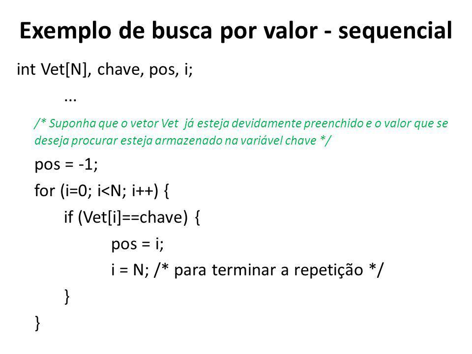 Exemplo de busca por valor - sequencial int Vet[N], chave, pos, i;...