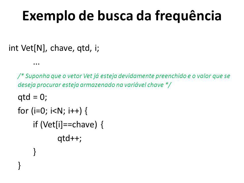 Exemplo de busca da frequência int Vet[N], chave, qtd, i;...