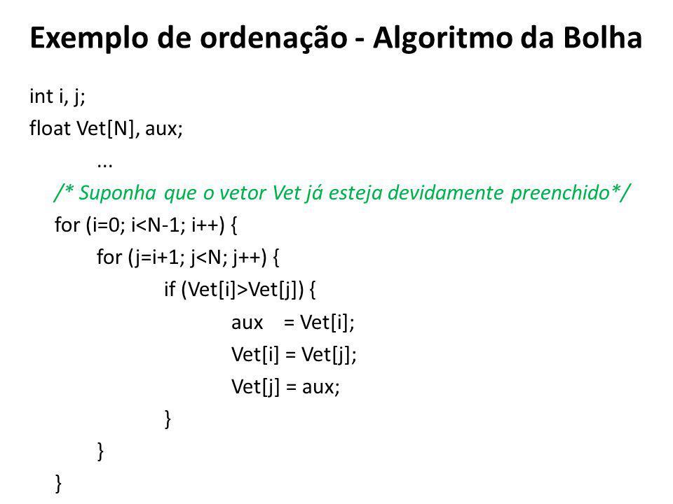 Exemplo de ordenação - Algoritmo da Bolha int i, j; float Vet[N], aux;...