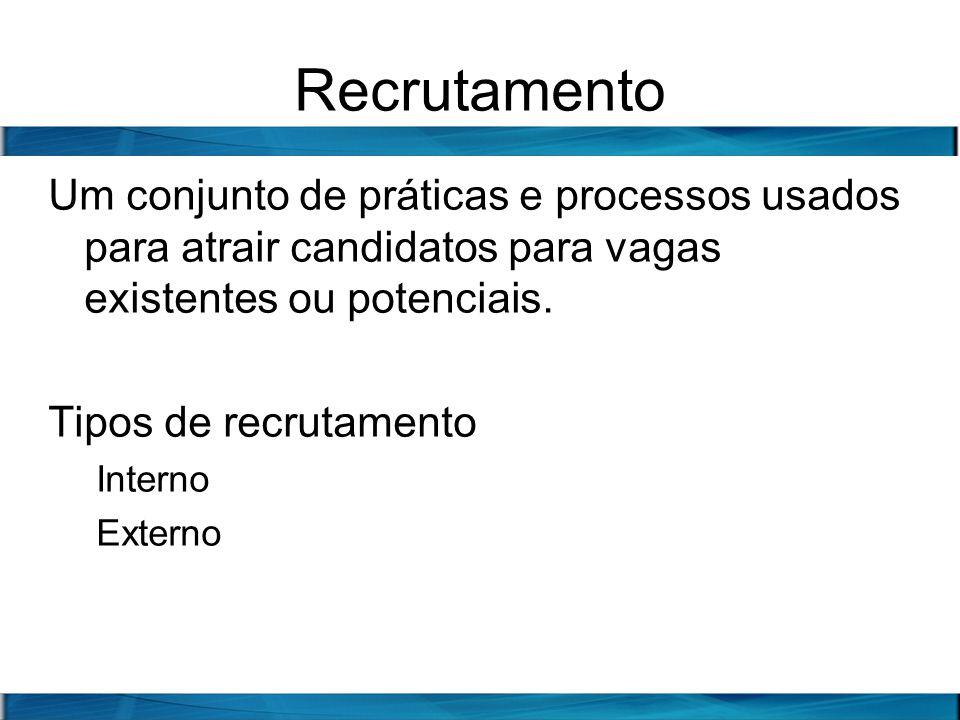 Recrutamento Um conjunto de práticas e processos usados para atrair candidatos para vagas existentes ou potenciais. Tipos de recrutamento Interno Exte