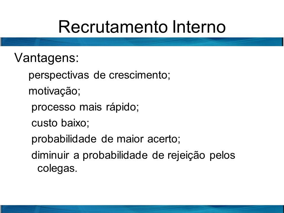 Recrutamento Interno Vantagens: perspectivas de crescimento; motivação; processo mais rápido; custo baixo; probabilidade de maior acerto; diminuir a p