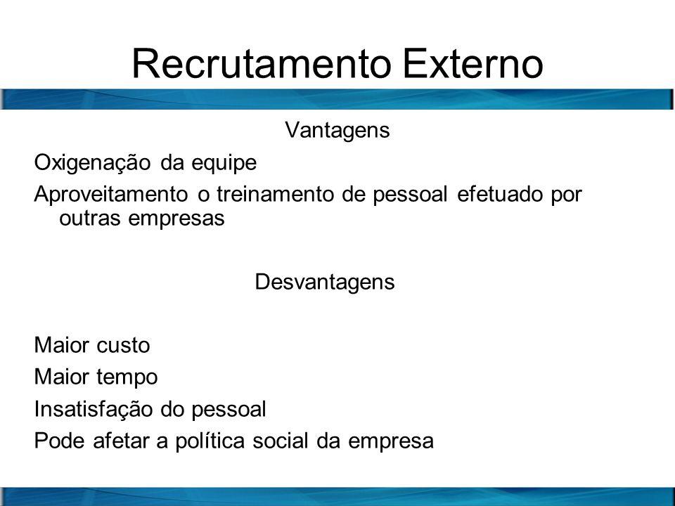 Recrutamento Externo Vantagens Oxigenação da equipe Aproveitamento o treinamento de pessoal efetuado por outras empresas Desvantagens Maior custo Maio