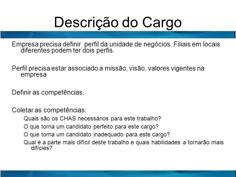 Descrição do Cargo Empresa precisa definir perfil da unidade de negócios. Filiais em locais diferentes podem ter dois perfis. Perfil precisa estar ass