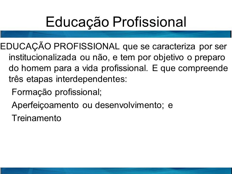 Educação Profissional EDUCAÇÃO PROFISSIONAL que se caracteriza por ser institucionalizada ou não, e tem por objetivo o preparo do homem para a vida pr