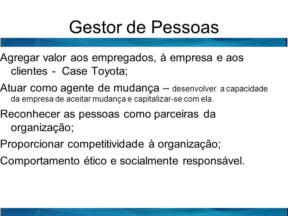 Gestor de Pessoas Agregar valor aos empregados, à empresa e aos clientes - Case Toyota; Atuar como agente de mudança – desenvolver a capacidade da emp