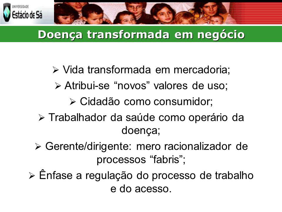 Doença transformada em negócio Vida transformada em mercadoria; Atribui-se novos valores de uso; Cidadão como consumidor; Trabalhador da saúde como operário da doença; Gerente/dirigente: mero racionalizador de processos fabris; Ênfase a regulação do processo de trabalho e do acesso.
