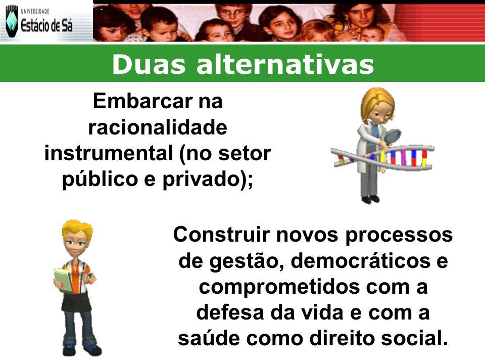 Duas alternativas Construir novos processos de gestão, democráticos e comprometidos com a defesa da vida e com a saúde como direito social.