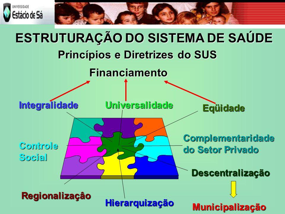 IntegralidadeUniversalidadeDescentralização Hierarquização Eqüidade Regionalizaçâo Municipalização Controle Social Complementaridade do Setor Privado Princípios e Diretrizes do SUS ESTRUTURAÇÃO DO SISTEMA DE SAÚDE Financiamento