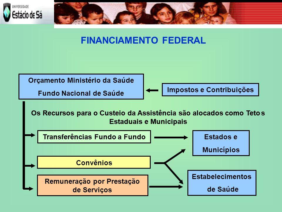 FINANCIAMENTO FEDERAL Impostos e Contribuições Orçamento Ministério da Saúde Fundo Nacional de Saúde Estados e Municípios Transferências Fundo a Fundo Convênios Os Recursos para o Custeio da Assistência são alocados como Tetos Estaduais e Municipais Impostos e Contribuições Orçamento Ministério da Saúde Fundo Nacional de Saúde Estados e Municípios Estabelecimentos de Saúde Transferências Fundo a Fundo Remuneração por Prestação de Serviços Os Recursos para o Custeio da Assistência são alocados como Tetos Estaduais e Municipais