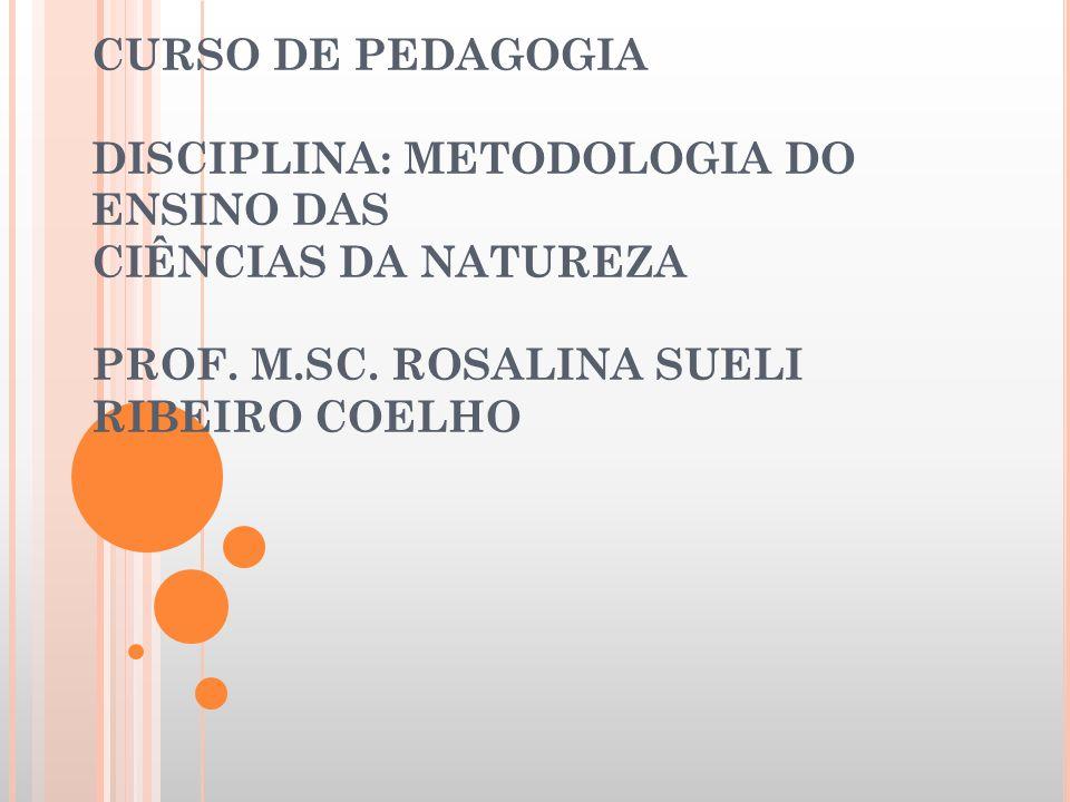 CURSO DE PEDAGOGIA DISCIPLINA: METODOLOGIA DO ENSINO DAS CIÊNCIAS DA NATUREZA PROF.