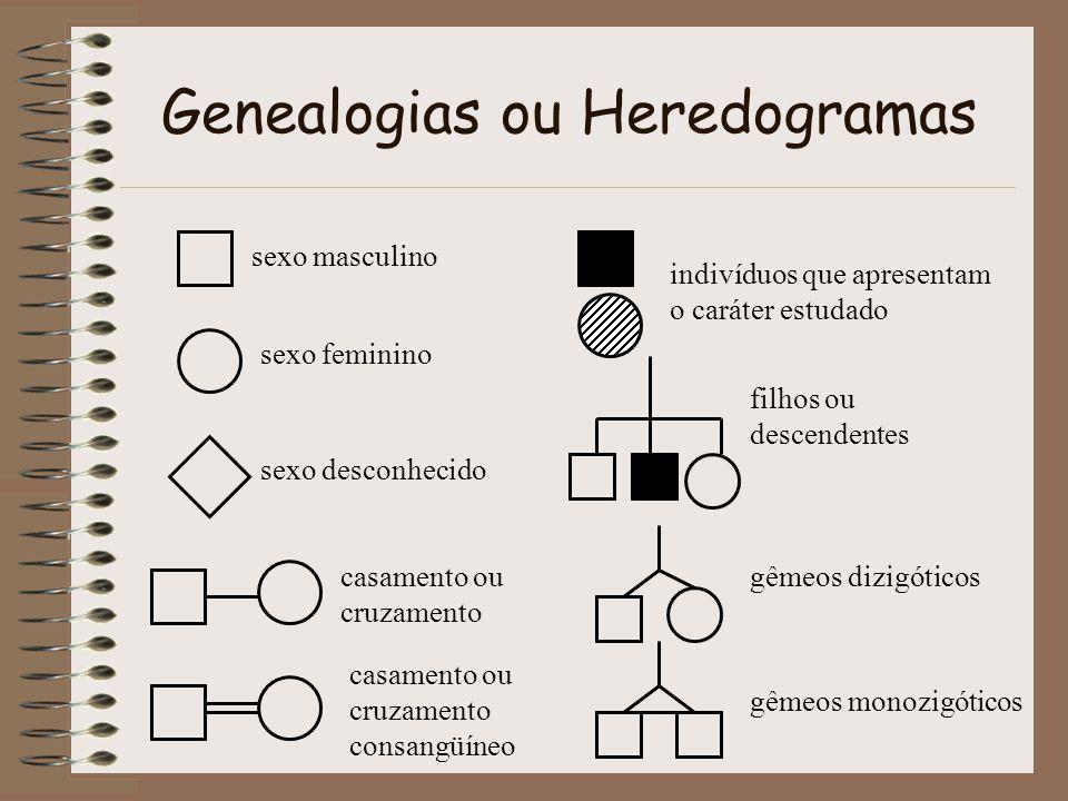 Genealogias ou Heredogramas sexo masculino sexo feminino sexo desconhecido casamento ou cruzamento casamento ou cruzamento consangüíneo indivíduos que