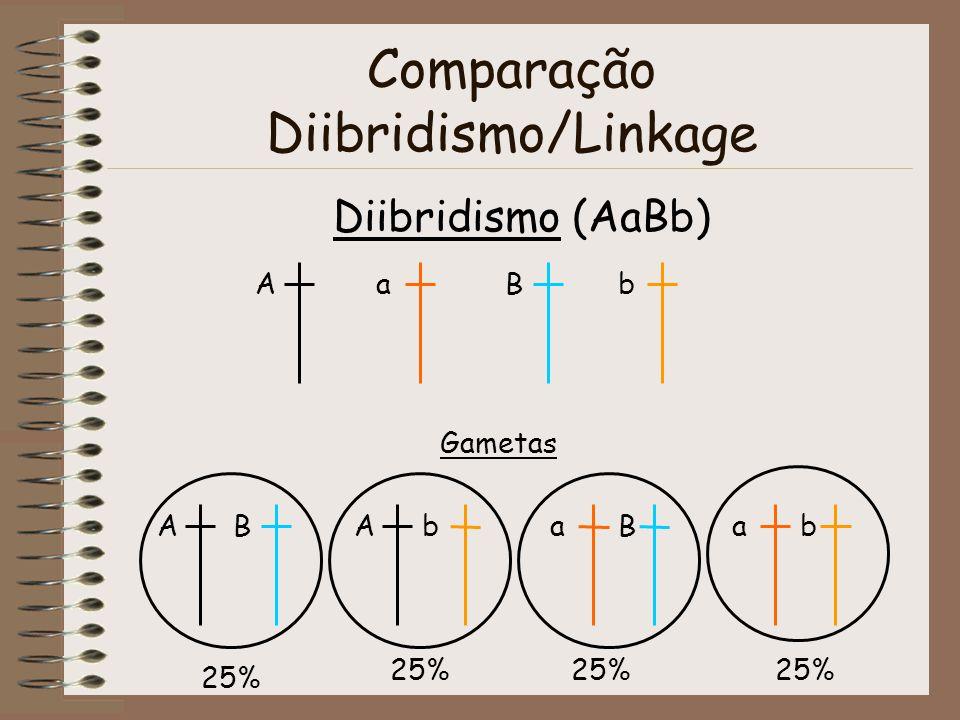 Comparação Diibridismo/Linkage Diibridismo (AaBb) AaBb Gametas ABAbaBab 25%