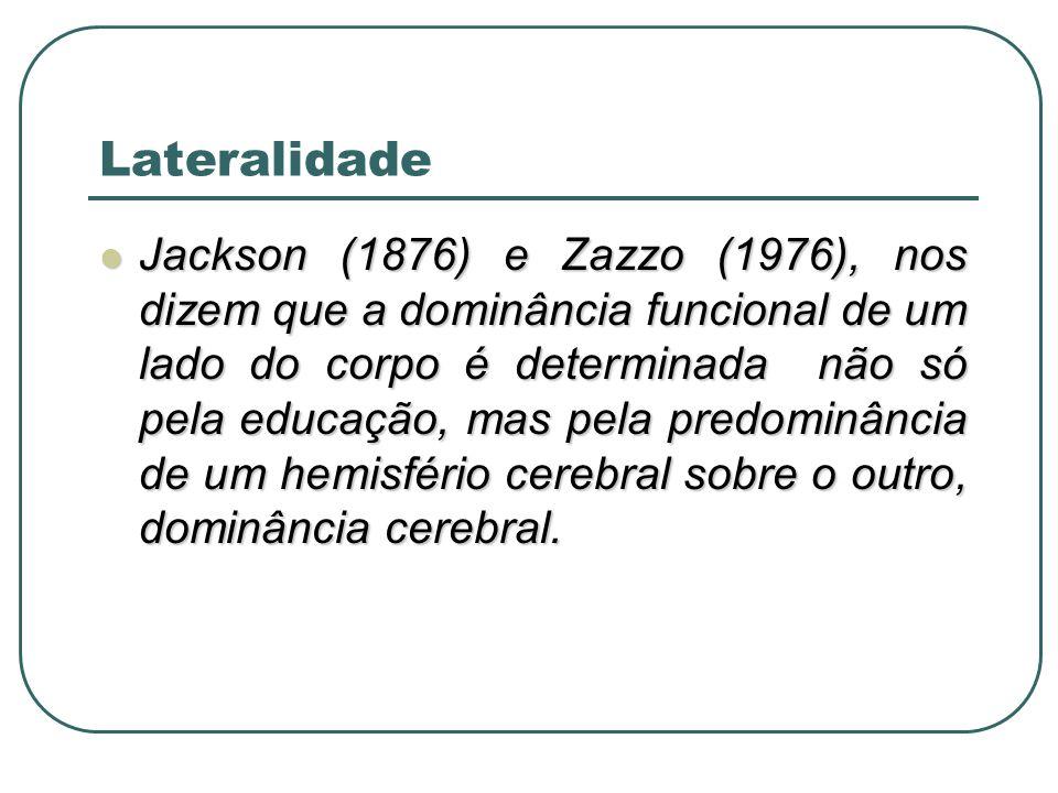 Lateralidade Jackson (1876) e Zazzo (1976), nos dizem que a dominância funcional de um lado do corpo é determinada não só pela educação, mas pela pred