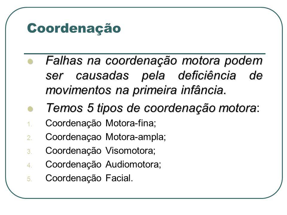Falhas na coordenação motora podem ser causadas pela deficiência de movimentos na primeira infância. Falhas na coordenação motora podem ser causadas p