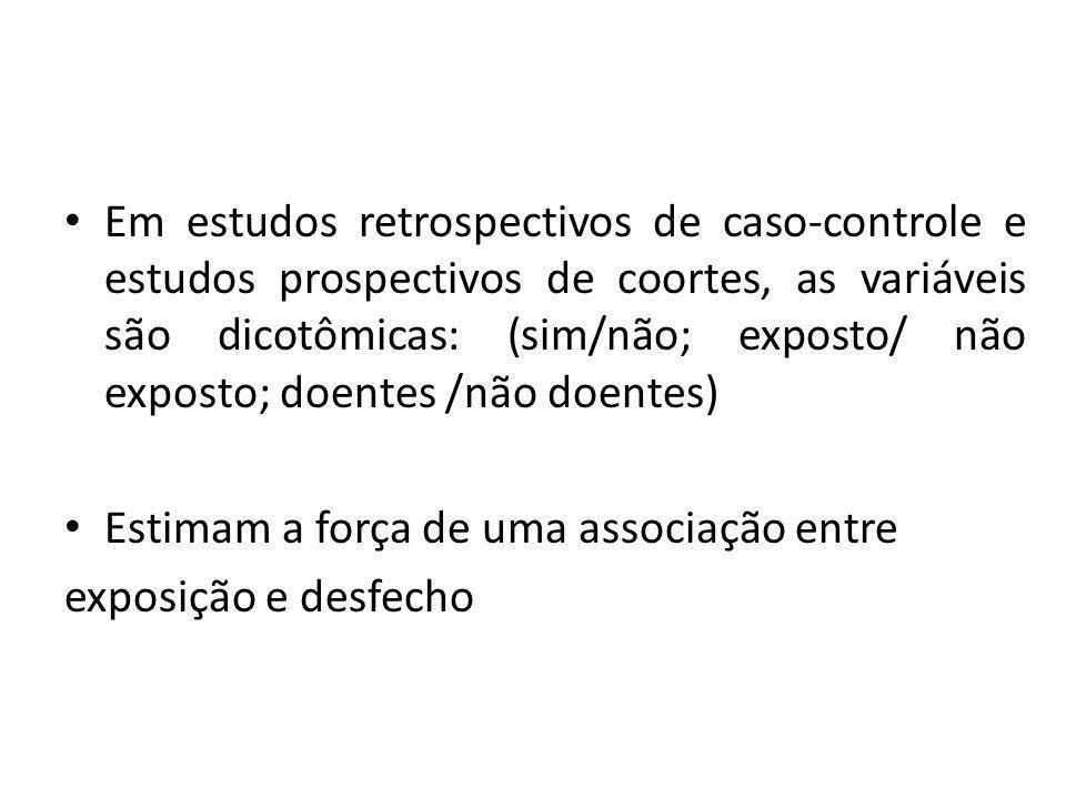 Em estudos retrospectivos de caso-controle e estudos prospectivos de coortes, as variáveis são dicotômicas: (sim/não; exposto/ não exposto; doentes /n