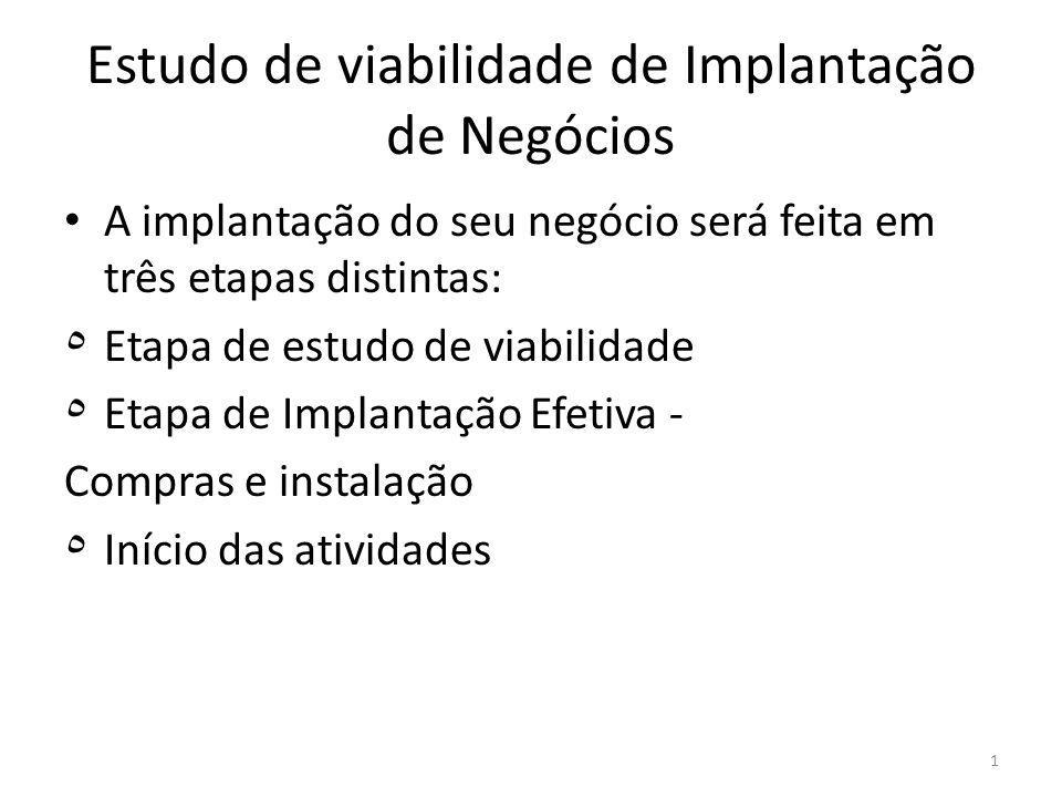 1 Estudo de viabilidade de Implantação de Negócios A implantação do seu negócio será feita em três etapas distintas: ٥ Etapa de estudo de viabilidade