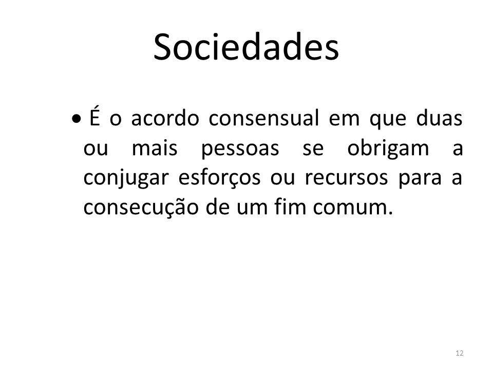 12 Sociedades É o acordo consensual em que duas ou mais pessoas se obrigam a conjugar esforços ou recursos para a consecução de um fim comum.