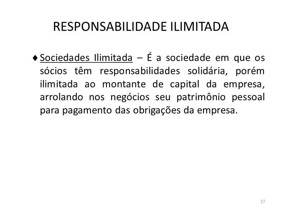 17 RESPONSABILIDADE ILIMITADA Sociedades Ilimitada – É a sociedade em que os sócios têm responsabilidades solidária, porém ilimitada ao montante de ca