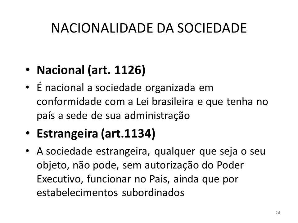 24 NACIONALIDADE DA SOCIEDADE Nacional (art. 1126) É nacional a sociedade organizada em conformidade com a Lei brasileira e que tenha no país a sede d