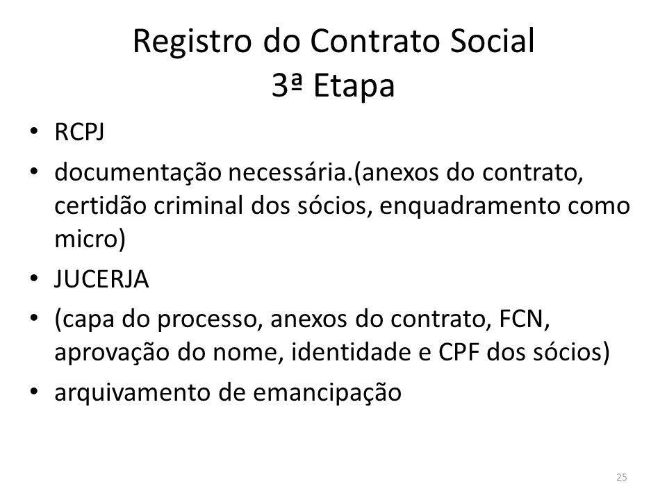 25 Registro do Contrato Social 3ª Etapa RCPJ documentação necessária.(anexos do contrato, certidão criminal dos sócios, enquadramento como micro) JUCE